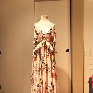 Lulus DE FLEUR BLUSH FLORAL PRINT DRESS